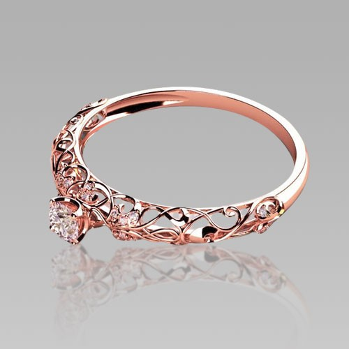 rose gold engagement rings retro cutout sterling silver womens cubic zirconia wedding ring - Rose Gold Wedding Rings For Women