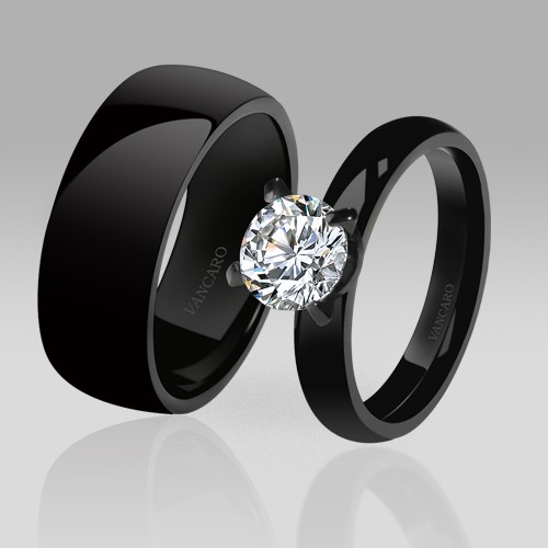 Black Couple Rings High Quality Black Wedding Engagement Rings