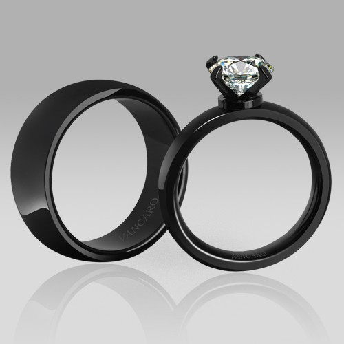 black couple rings high quality black wedding engagement rings black ring solitaire style white cub on luulla - Black Wedding Rings For Him And Her