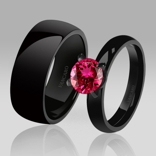 Black Couple Rings EngagementWedding Ring Solitaire Red Corundum